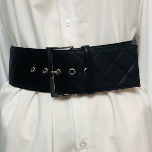 RICHARD GAMPEL  Black Leather Quilted Belt Italy